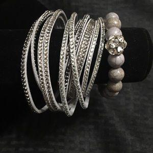 Grey cord bracelet and necklace set